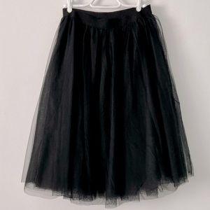 Pink Blush Black Tulle Tutu Midi Skirt